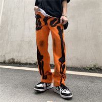 Orijinal Graffiti Baskı Erkekler Için Yırtık Kot Düz Boy Casual Denim Pantolon Yüksek Sokak Gevşek Pantolon