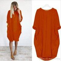 Europa löst plus Größen-Frauen-Kleid Tide Patchwork A Line Pullover Taschen-Entwurf 2020 Sommer-neue kleines frisches Kleid Schwangere Frauen bevorzugt