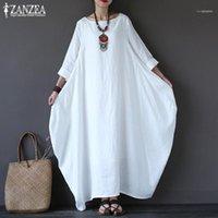 Günlük Elbiseler ZANZEA 2021 kadın Sundress Vintage Keten Uzun Elbise Kadın Plaj Parti Maxi Batwing Kollu Baggy Vestidos Kaftan Robe1