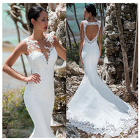 Mermaid Wedding Dress Sleeveless Lace Appliqued Illusion Back Boho Wedding Gown Long Train Bride Dress