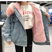Giacche da donna con cappa di pelliccia Cappuccio in cotone Liner Lungo Denim Denim Winter Hardy Cappotti caldi Hardy femminile Plus Size Outerwear 1