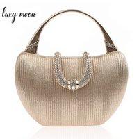 Hochzeit Kupplungstasche Luxus Handtaschen für Frauen Champagner Elegante Umhängetasche Diamant u Form Verschluss Clutch Bag Geldbörse ZD1346 Y200623