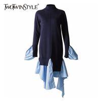 Twotwinstyle patchwork suéter casual para las mujeres o cuello de manga larga dobladillo irregular suéter femenino femenino 2020 otoño moda nueva marea lj201127