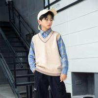 Cardigan Versión de ropa falsa Coreano 2021 Primavera Dos camisas a cuadros Empalme Camiseta para niños Suéter infantil grande 140-180 V6UO