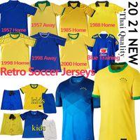 Copa America 2020 브래지어 축구 유니폼 Firmino Neymar Brasil JR 레트로 클래식 1957 85 88 98 2000 축구 셔츠 남자 키트 제복