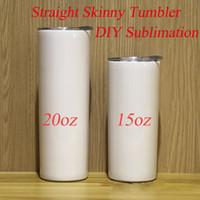 DIY Sublimação Tumbler 15oz 20oz 30oz Strainight Skinny Tumbler Cups Straight Cups Aço Inoxidável Slim Slim Tumbler Isolado Frete Grátis