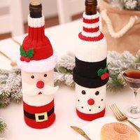 Natal Enfeites Garrafa Manga malha Champagne Frasco de vinho vermelho Bolsas Decor Xmas Suprimentos Frascos Santa dos desenhos animados do boneco de neve Capa 7 2HB G2