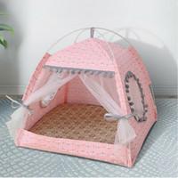 Haustierkatze Hunde-Tipee-Zelte Häuser mit Kissen Tafel-Tafel-Zubehör, tragbar, Holz-Leinwand Tipi-Faltenzelt Kleine Tiere Bett