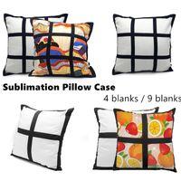 Sublimation Blank Pillow Case Black Grid Tessuto Poliestere Cuscino Copertura del cuscino di trasferimento termico Copertura del cuscino del tiro di tiro Pillowcases 40 * 40cm