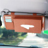 Uniwersalny Car Styling Case Sun Visor Typ Wełny Fild Wiszące Tissue Box Samochodowy Uchwyt Na Serwetki Kieszonkowy Organizator Karty Karty Storage1