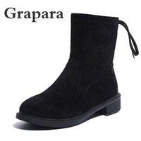 النساء أحذية الكاحل منصة مطاطا باند مكتنزة كعب حذاء زلة أنثى في التمهيد قصيرة منتصف الخريف الكعب أحذية للسيدات Grapara
