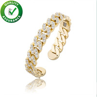 Braccialetto da uomo Hip Hop Jewelry di lusso Braccialetti Donne ghiacciate Iced Out Diamond Bangle Rapper Gold Silver Charm Bling Accessori moda 12mm Larghezza DJ
