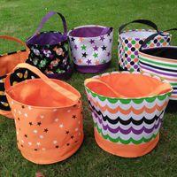 Bucket de Halloween Polka Dot Bat Rayado Poliéster Halloween Collection Collection Bag Halloween Trick o Trate Bolsas de calabaza 12 diseños LX3587