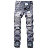 Мужские джинсы евреев 2021 мужчин бренд высококачественная дыра прямые мото байкер джинсовые брюки для черного синего цвета