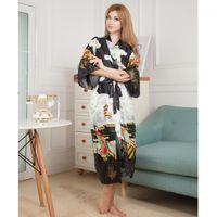Vêtements de nuit pour femmes Soie noire Soik Satin Mariée mariée de demoiselle d'honneur de demoiselle d'honneur floral peignoir long kimono vintage robe de chambre de nuit pour femme1