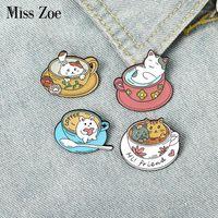 핀, 브로치 컵 고양이 에나멜 핀 사용자 정의 귀여운 고양이 커피 브로치 가방 옷 옷깃 새끼 고양이 카페 배지 동물 쥬얼리 선물 아이들 friends1