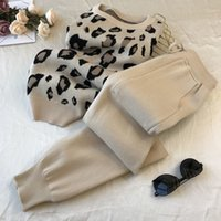 Amolapha Women Knit Leopard Pullover Sweaters+Pants Sets Woman Fashion Jumpers Trousers 2 PCS Costumes Outfit 201007