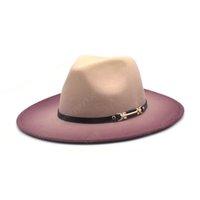 Sonbahar Kış Kızlar Fedoras Şapka Yün Degrade Renk Panama Kadınlar Caz Cap Geniş Ağız Britanya Seyahat Kovboy Şapkalar