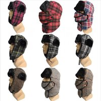 Trapper Cap With Mask Men Women Winter Warm Fur Snow Hat Plaid Earflap Snow Ski Cycling Cap Bomber Hats Sea Shipping DDA783