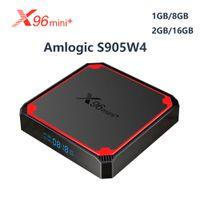 X96 ميني زائد الروبوت tvbox x96mini الروبوت 9.0 مربع التلفزيون الذكي 1GB 8GB amlogic S905W4 رباعية النواة 2.4 جرام 5 جرام wifi 4 كيلو تعيين أعلى مربع