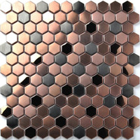 23mm Hexagon cepillo rosa oro mezclado negro de metal de acero inoxidable azulejos de mosaico, tienda creativa chimenea de chimenea de chimenea azulejos de la pared1