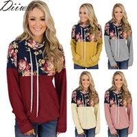 Damen Hoodies Sweatshirts Style for Womens Bluse Stapel Collared Print Casual CordString Langarm Herbst Winter Hoodie