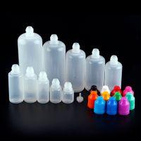 Botella de plástico Embalaje E líquido E Botellas de gotero líquido con consejos cortos para cigarrillos E Oil 3ml 5ml 10ml 15ml 20ml 30ml 50ml 60ml 100ml 120ml