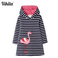 Vikita adolescente meninas vestido inverno manga comprida hoodies grossos vestidos de flamingo quente para meninas crianças unicórnio desenhos animados roupas 201008