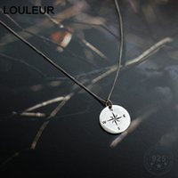 Louleur Real 925 Sterling Silver Compass Necklace Elegant Minimalist Geometric Pendant Necklace For Women Luxury Fine Jewellery Q0531