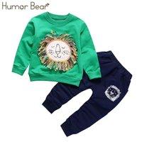 유머 곰 새로운 크리스마스 아기 소녀 옷 세트 소년 양복 소년 짜다 만화 디자인 티셔츠 + 바지 1-5 년 201126