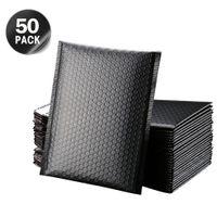 50 stücke blase umhüllung selbstsiegel black foil bubble mailer für geschenk verpackung gesäumt poly mailer wedding tasche periple umschläge