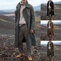 Мужская траншея пальто мужчины мода длинные куртки осень зима толстый бизнес повседневная пальто мужская ветровка верхняя одежда