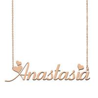 قلادة شخصية اسم اناستازيا مخصص قلادة للرجال بنين هدية عيد ميلاد أفضل الأصدقاء مجوهرات 18k الذهب مطلي الفولاذ المقاوم للصدأ