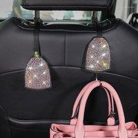 سيارة الظهر مقعد الخفية هوك المخفية شماعات بريق الكريستال الماس سيارة ديكور السيارات الملحقات الداخلية للنساء 1