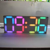 Large pouce Rainbow Color Digital Tube DS3231 Horloge Kit DIY avec Couleurs personnalisables Kit électronique Cadeau1
