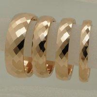 결혼 반지 3mm 너비 희귀 한 여성 / 소녀 로즈 골드 도금 멀티 패싯 텅스텐 링 크기 2 링 10