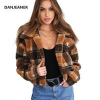 Женские куртки Danjeaner осень зима европейский стиль кашемировой клетчатую пальто женщин плюс размер ветровка на молнии густая теплая верхняя одежда