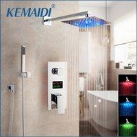 KEMAIDI 크롬 완성 LED 샤워 헤드 디지털 디스플레이 믹서 탭 욕실 샤워 수도꼭지 2 기능 디지털 샤워 수도꼭지 세트 T200710
