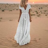 Femmes Maxi Robe Vintage Élégant Dot Print Tassels Longue Robe à manches courtes Sexy Vneck Beach Maxi Robes Vestido Longo # JS51