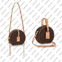 M43514 صغيرتي boite chapeau biite mm pm handbag محفظة البقر الأصلي تقليم قماش hatbox مصمم حقائب الكتف crossbody messenger