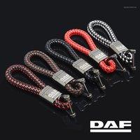 الحلي LQY سيارة جلدية حبل سلسلة المفاتيح مضفر عالية الجودة مقاومة للاهتراء ل DAF XFF CF LF XF الملحقات 1