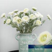 Красивый британский Noble Royal Family Искусственный лютик азиатский шелк Цветы 3 головки Dew лотоса украшения Поддельный цветок A6840