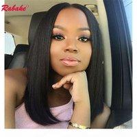 Límite al por mayor del cordón de la peluca pelucas de pelo humano brasileño del cordón lleno Bob Corte Pre desplumados Rabake completa rayita natural para la Mujer afroamericana