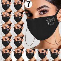 Rhinestone brillante mujeres joyería máscara elástica mágica bufandas reutilizables lavables de moda mascarillas de cara de bandana máscaras con máscaras