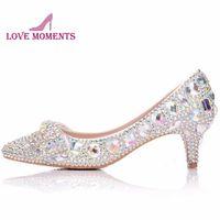 Dress Shoes 2021 Gorgeous AB Crystal Donne Pompe Farfalla Strass da 2 pollici punta a punta da sposa nuziale Cenerentola Prom Party