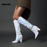 Bottes Emma King Gradient Couleur Couleur High Metallic Wonen Spike Talons Longues Dames Mode Courtwalk Winter 2021