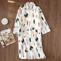 BZEL Хлопок Женщины Мантия Большой размер Nightgowns Мягкие Сыпучие Пижамы Листья Pattern Простые Nighty Loungewear Dropshipping Одежда