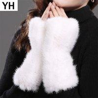 Vente chaude dame vrais gants de fourrure gants filles vrais tricotés fourrure gants sans doigts hiver élasticité véritable vison véritable mitaines 201020