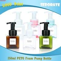 Sedorate 20 pçs / lote 250ml quadrado Petg bomba de espuma de espuma vazio recipientes de cosméticos face plástica recarregável FY003High quantidade