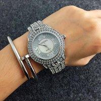 CONTENA Glänzende Volldiamantuhr Strass Armbanduhr Frauen Uhren Mode Frauen Uhren Uhr Clock Saat1